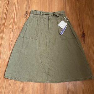 NWT Artisan Linen olive color skirt SIZE 4